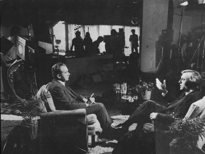 David Frost interviews then President Richard Nixon in 1977.