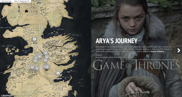 Game of Thrones character Arya Stark's journey mapped by StoryMapJS