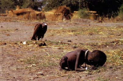 Vulture stalking a child in Sudan, 1993. Photo Kevin Carter