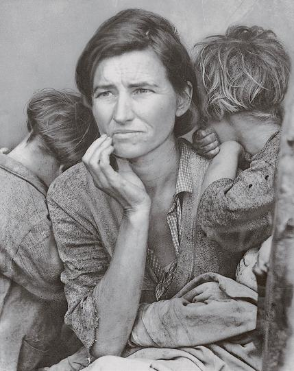 """Migrant Mother"" is one of a series of photographs that Dorothea Lange made of Florence Owens Thompson and her children in February or March of 1936 in rural California."