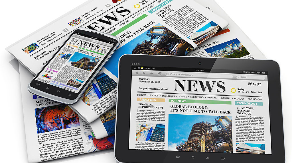 newspapers and news apps on an ipad and phone