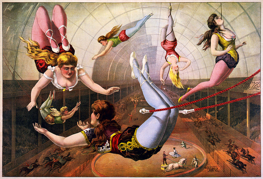 trapeze artists - lilthograph from 1890