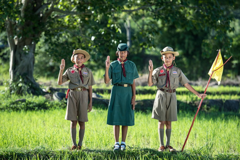 three scouts doing the scout salute, standing in a grassy spot