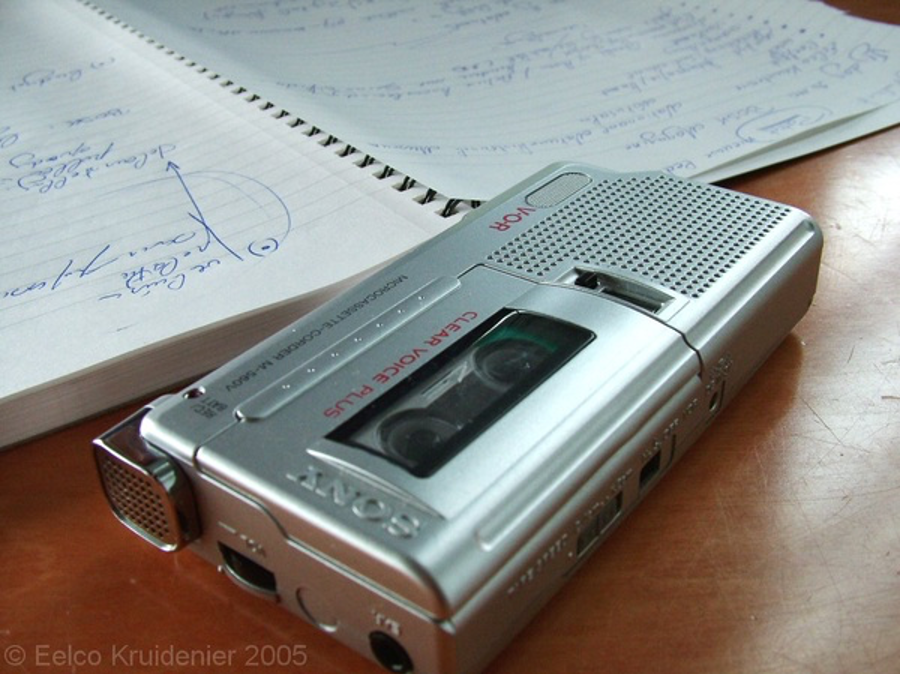 old school dictaphone used for recording interviews on tape