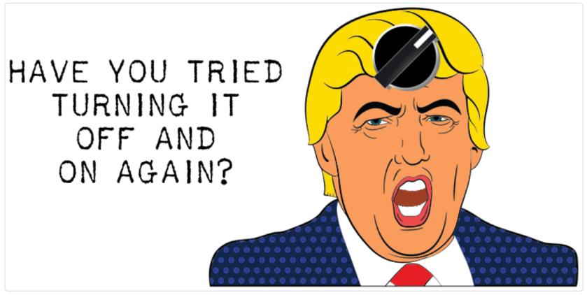 satirical illustration: resetting donald trump