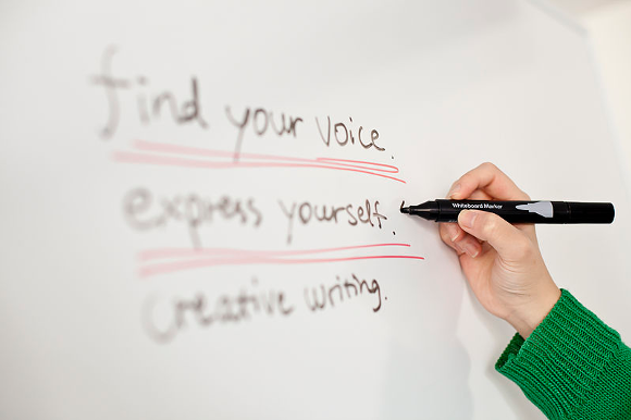 writing on a whiteboard spells out the importance of finding your voice